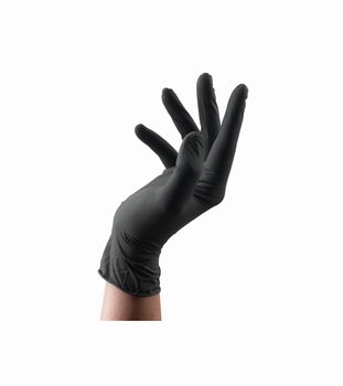 Black latex satin handschoenen - large