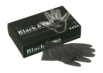 Black latex satin gloves - medium