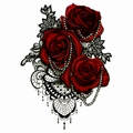 3-D Red roses Body tattoo