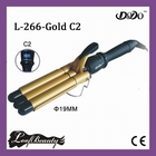 Ceramic Triple Barrel Wave, LCD display, color: Gold