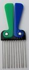 Afro  kam blauw-groen, handtas formaat