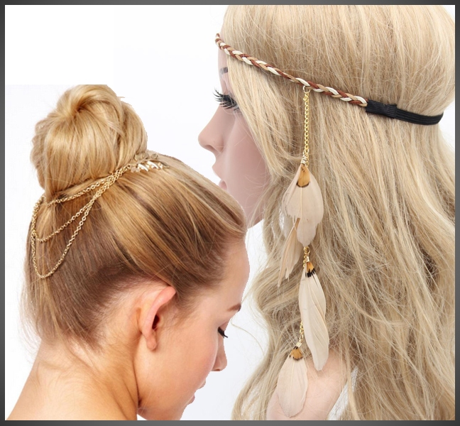 CHAIN & FEATHER BRAIDED HEADBAND